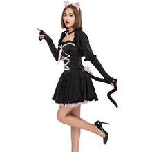 Cute Black Cat Cosplay Costume For Women Halloween Costume For Adult Women Carnival Performance Party Dress Up Suit цена 2017