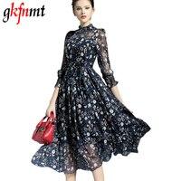 2017 New Women Dress Runway Style Elegant Ladies Vintage Floral Print Maxi Dress Long Chiffon Beach