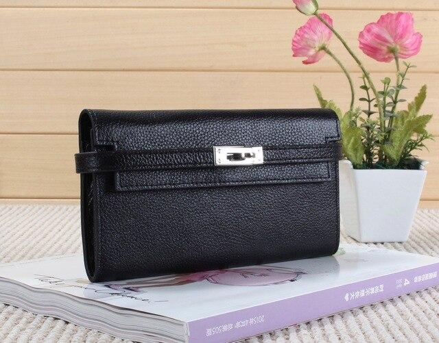 Women Genuine Real Cow Leather Clutch Bag Handbag Lock Designer Cellphone  Mobile Bag Purse Fashion Stylish 1b8f38b371