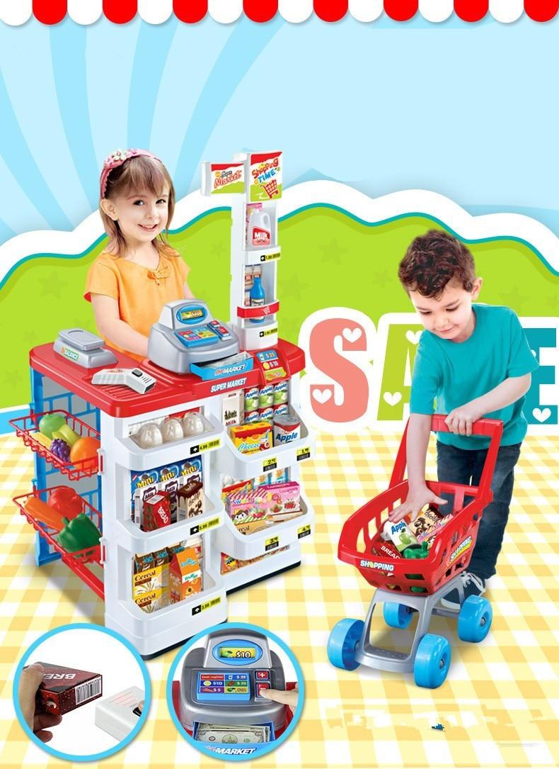 [Funny] 34pcs/set Simulation supermarket red cash register cart shelf set fun toy pretend play imitate cashier salesclerk gift цена