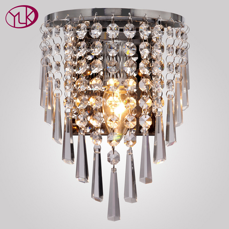 Youlaike Modern Wall Sconces With E14 Crystal Wall Lamp Living Room Bedroom Modern Bedside Light Fixtures contemporary elegant crystal drops wall light living room bedroom bedside lamp mirror hallway light fixtures wall sconces wl194