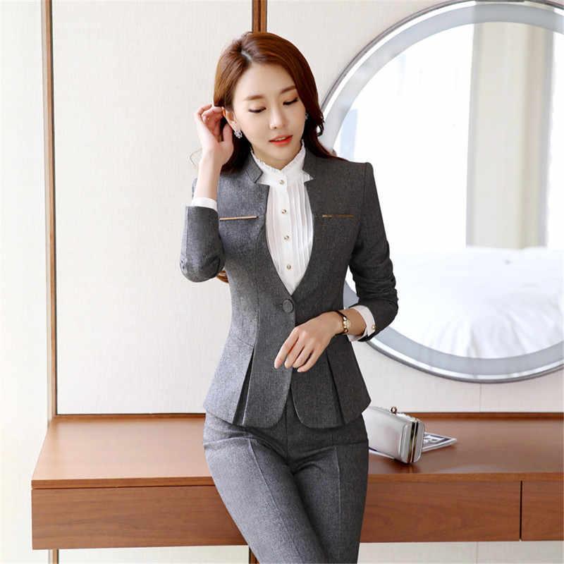 a7bc47819 Trajes de pantalón Formal para mujer, pantalones de 2 piezas para oficina,  conjunto de