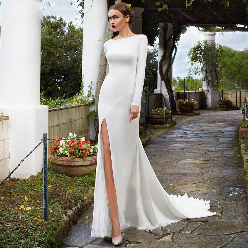 Eightree Long Sleeve Soft Stain Mermaid Wedding Dress Font Slit Lace Appliques Trumpet White Wedding Gown Chapel Train Boat Neck