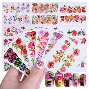 Image 1 - Autocollants pour manucure, motifs mixtes, décalcomanies deau pour Nail Art, fleurs, lapin, dessin animé bricolage même, 45 pièces TRWG45