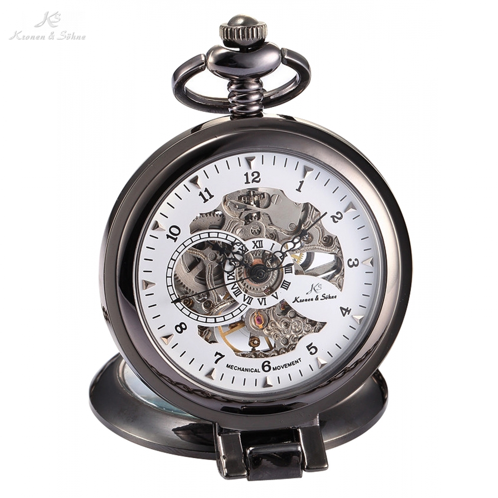 KS Luxury Brand White Skeleton Alloy Dial Analog Hand Wind Mechanical Relogio Fob Copper Men Key Steampunk Pocket Watch / KSP064 стоимость