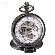 KS Luxury Brand White Skeleton Alloy Dial Analog Hand Wind Mechanical Relogio Fob Copper Men Key Steampunk Pocket Watch / KSP064