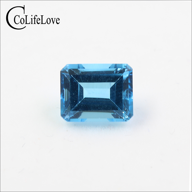 VVS 7 mm * 9 mm emerald cut topaz gemstone real natural light blue topaz loose stone for jewelry shop
