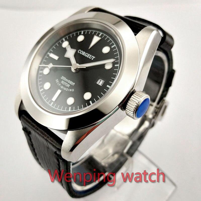 W2502 Corgeut 41mm Gepolijst Zwart serie Wijzerplaat Automatische Ontwerp Klok Leather Mechanische Horloges-in Mechanische Horloges van Horloges op  Groep 2