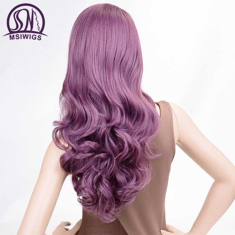 Image 5 - MSIWIGS Wavy Wigs Purple Hair Long Synthetic Wig for Women Side Parting Cosplay Hair Wig High Temperature FiberSynthetic None-Lace  Wigs   -