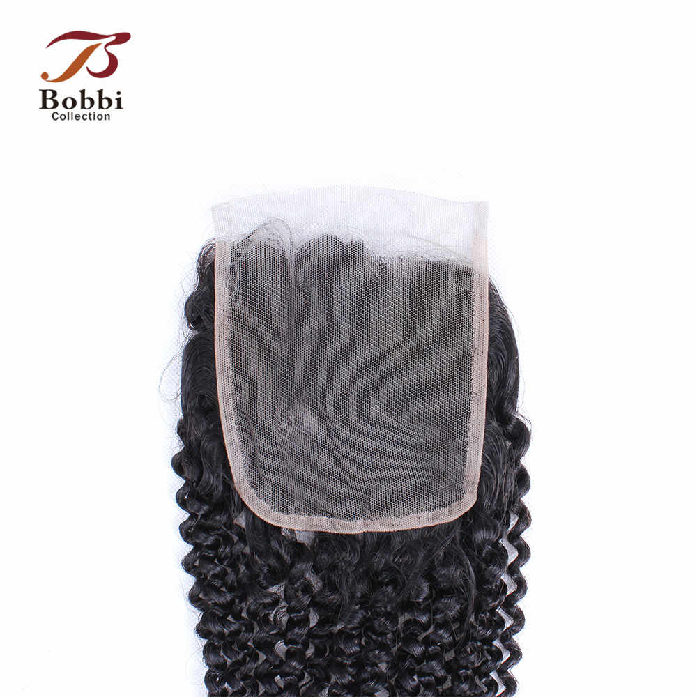 Bobbi Collection Afro Kinky Curly Lace Closure Brazilian Non-Remy Human Hair Natural Black Color 8-20 inch 4x4 Lace Closure