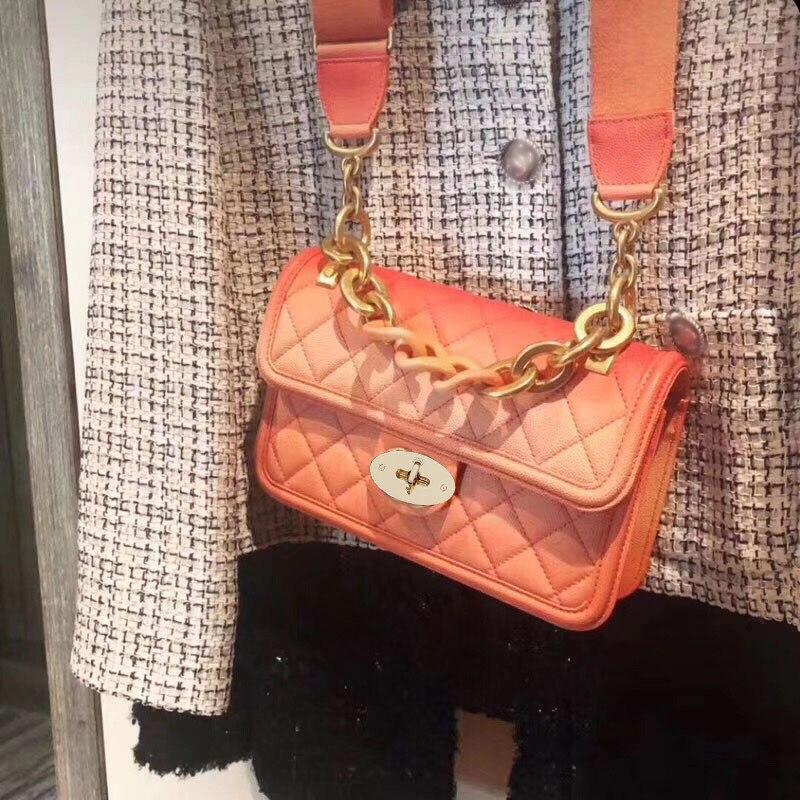 Grossier Large Orange Designer Femmes À pink Cuir blue De Chaîne Luxe Sacs Progressive D'épaule En Main Véritable Bande qHxZSS7zw