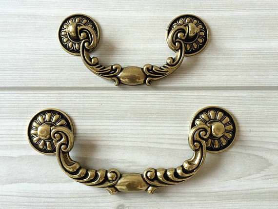 3.75 5.00 Drawer Pull Handles Dresser Knob Pulls Antique Bronze Bail Vintage Style Kitchen Cabinet Door Handle Pull