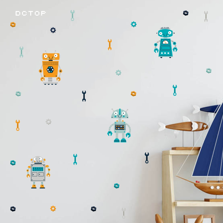 Cartoon Four Robots Wall Sticker Cute Kids Bedroom Decorative Decals Modern Decoration For The House Art Murals Vinyl Wallpaper