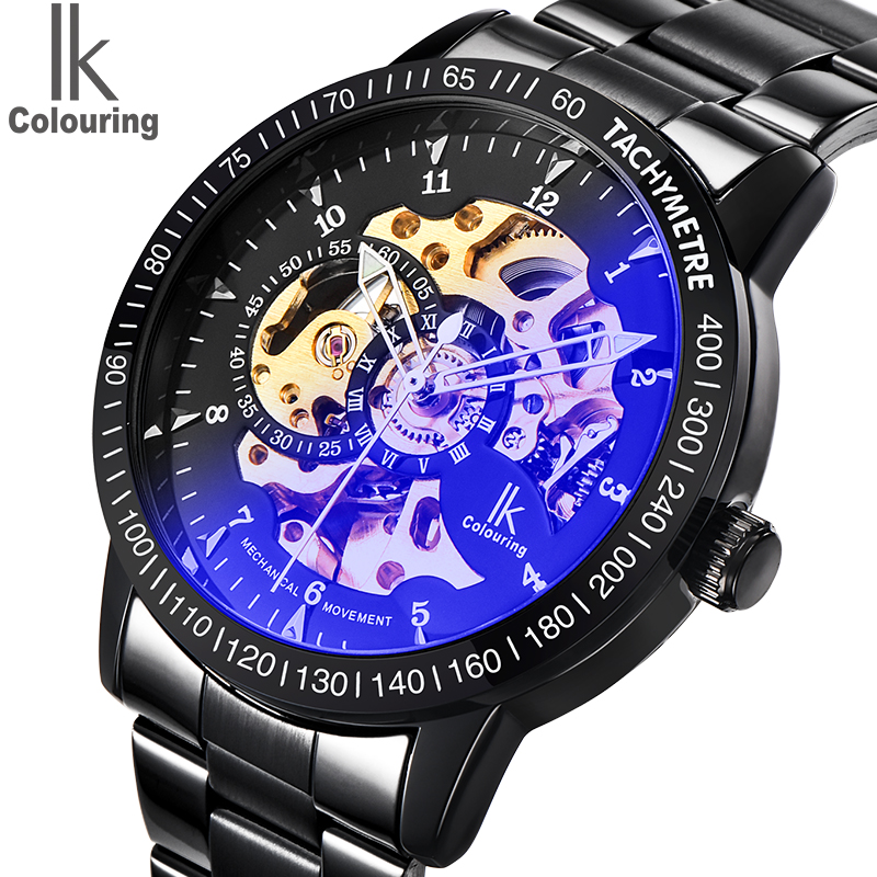 Watch Mens IK Colouring Fashion Mechanical Skeleton Watch Auto Stainless Steel Men's Watches Wristwatch Montre Homme