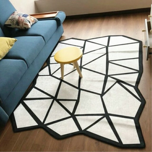 Fashion Black And White Acrylic Carpets Round For Living Room Kids