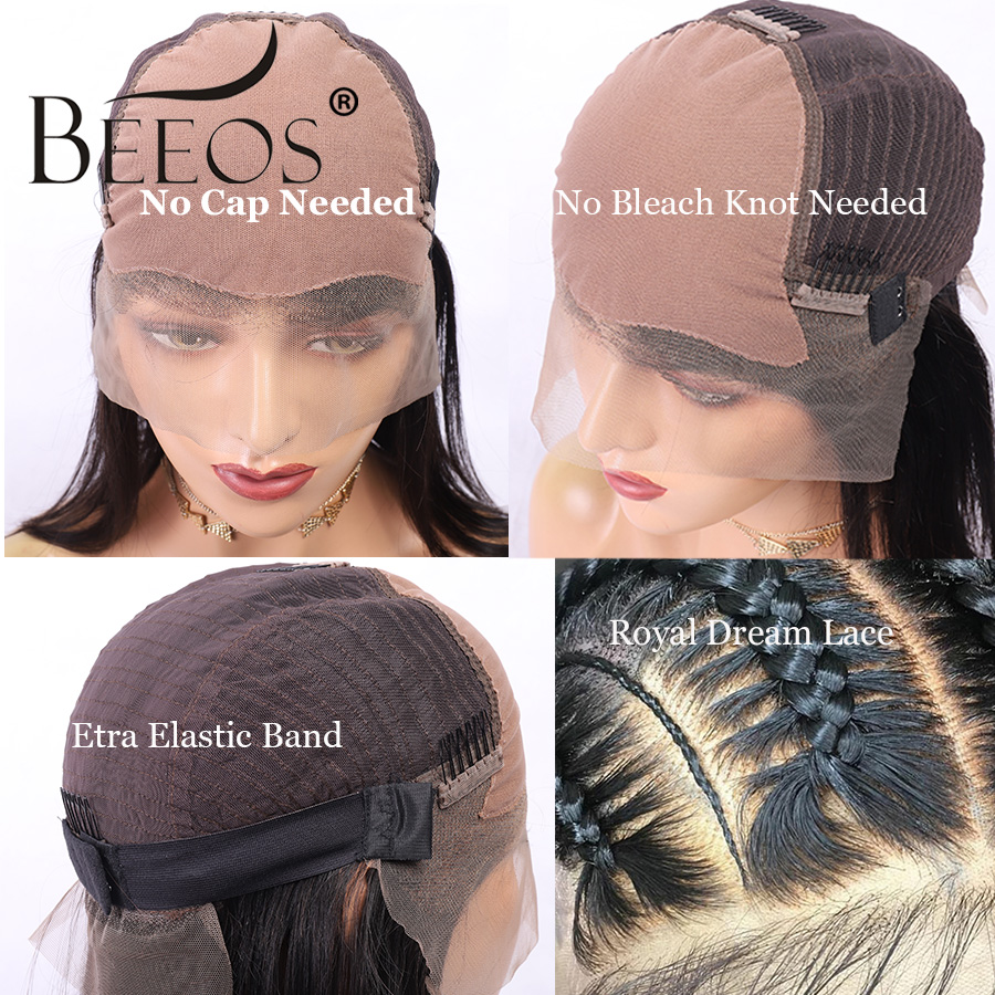 Beeos TIB/27 Color Fake Scalp Cap 13*6 Lace Front Human Hair Wig Deep Part Brazilian Remy Wigs High Ratio Ombre Honey Blond