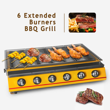 ITOP 6 Extended Burners BBQ Grill Glass Cover Stainless Steel Body LPG Gas Barbecue Grills For Outdoor Adjustable Height