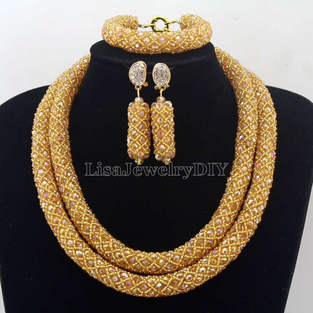 Splendid Statement Necklace African Jewelry Set African Crystal Jewelry Set for Wedding Statement Necklace Jewelry HD7277 nylon rope alloy statement necklace set