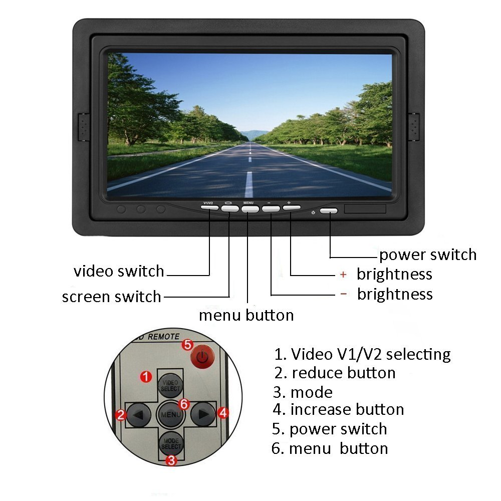 "Image 3 - Podofo 7"" TFT Color Car  Reversing Rear View Monitor Security Display Screen 2 Video Input 2 AV In For DVD VCD Backup Camera-in CCTV Monitor & Display from Security & Protection"