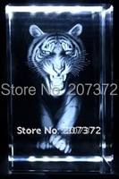 Free Shipping Customize 5 5 8CM Crystal Image With 3D Laser Tiger Crystal Promotional Gift Wholesale
