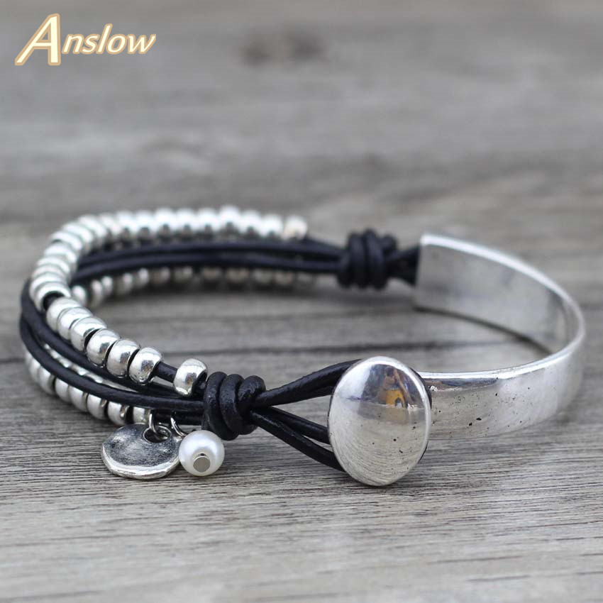 Anslow 2017 New Arrivals Trendy Unique Silver Beads Strand aproces - Modes rotaslietas