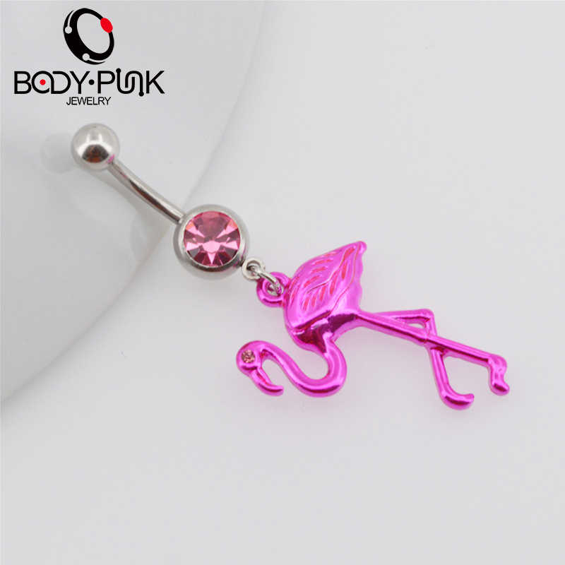 Body Punk Pink Flamingo Navel Ring 316l Surgical Steel Piercing Belly Button Rings Beautiful Navel Piercing Sex Body Jewelry