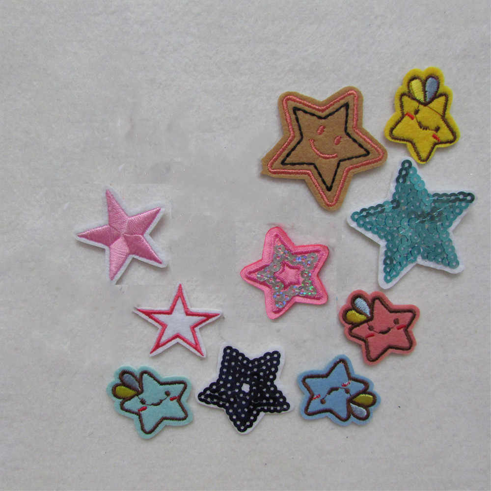 fashion hot sale five-pointed star Clothes Patch Iron On Embroidery Patches Hotfix Applique Motifs Sew On Garment Stickers New
