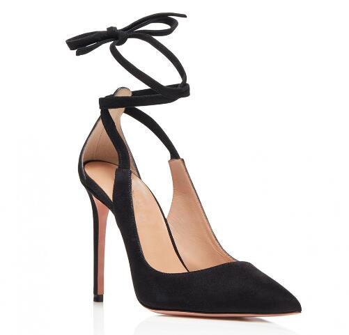 Classic black/off white shallow pointed toe high heel shoes for woman Ladies super high thin heel pumps High heels Dress shoes genuine large size single toe head high heels shallow mouth thin heel velvet shoes woman star with w824