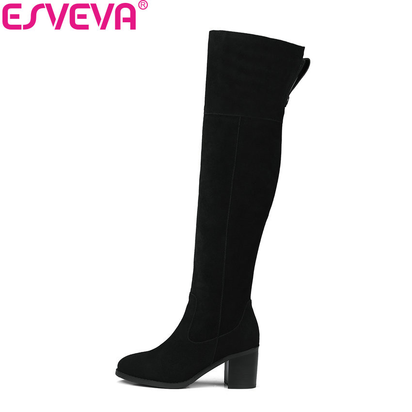 ESVEVA 2018 Women Boots Zipper Cow Suede Round Toe Over The Knee Boots Out Door Square High Heel Fashion Ladies Boots Size 34-39 esveva 2018 women boots cow leather suede out door buckle square high heels ankle boots pointed toe warm fur boots size 34 39