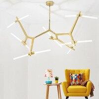 Современная светодио дный светодиодная Золотая люстра освещение стекло патрон люстра лампы креативные для гостиной спальни светильники