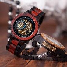 Бобо птица деревянные механические часы для мужчин Роскошные Ретро дизайн чехол с золотой этикеткой рядом с автоматическим и мульти-функциональные наручные часы