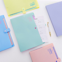 Creative Stationery A4 Document Bag Candy Color Smile Face File Folder Expanding Wallet Bill Folders Cute Office School Supplies