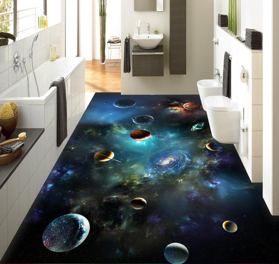 3d flooring Sky Solar System planet 3D stereoscopic floor bathroom pvc wallpaper 3d floor painting wallpaper купить в Москве 2019