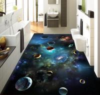 3d Flooring Sky Solar System Planet 3D Stereoscopic Floor Bathroom Pvc Wallpaper 3d Floor Painting Wallpaper