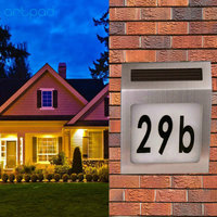 ArtPad Waterproof Solar Power LED House Number Light Stainless Steel Outdoor Wall Lamp Lighting Doorplate Lamp With Backlight