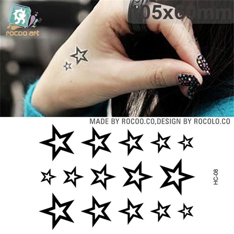 Body Art Waterproof Temporary Tattoos For Men Women Classics 3d Star Design Flash Tattoo Sticker Free Shipping HC1008