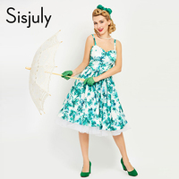Sisjuly 1950s Style Vintage Dress Women Green Floral Print Midi Dress Summer Retro Dresses Elegant Vintage Dresses Jurken Retro