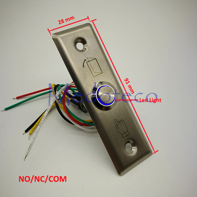 High Quality Led Light Stainless Steel Exit Button Metal Switch For Access Control System Slim NO/NC/COM Door Release Button