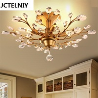 American, wrought iron Nordic sitting room lights led bedroom absorb dome light, contracted and contemporary creative crystal la
