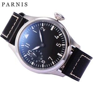 Image 2 - Mode main vent mécanique montres mâle 46mm Parnis 6498 main remontage mouvement noir cadran blanc chiffres lumineux hommes montre