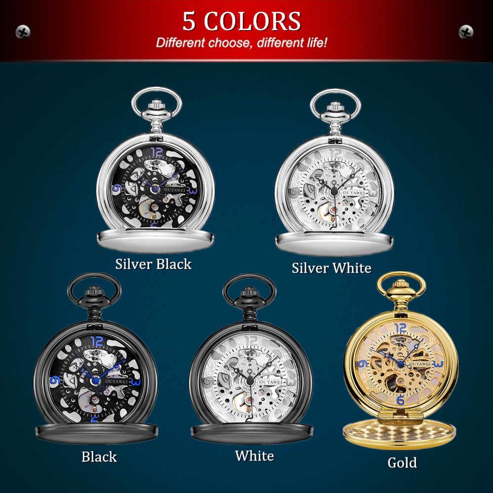 OYW – montre de poche mécanique pour hommes, blanc argent, cadran squelette, collier pendentif chaîne, cadeaux, nouvelle collection