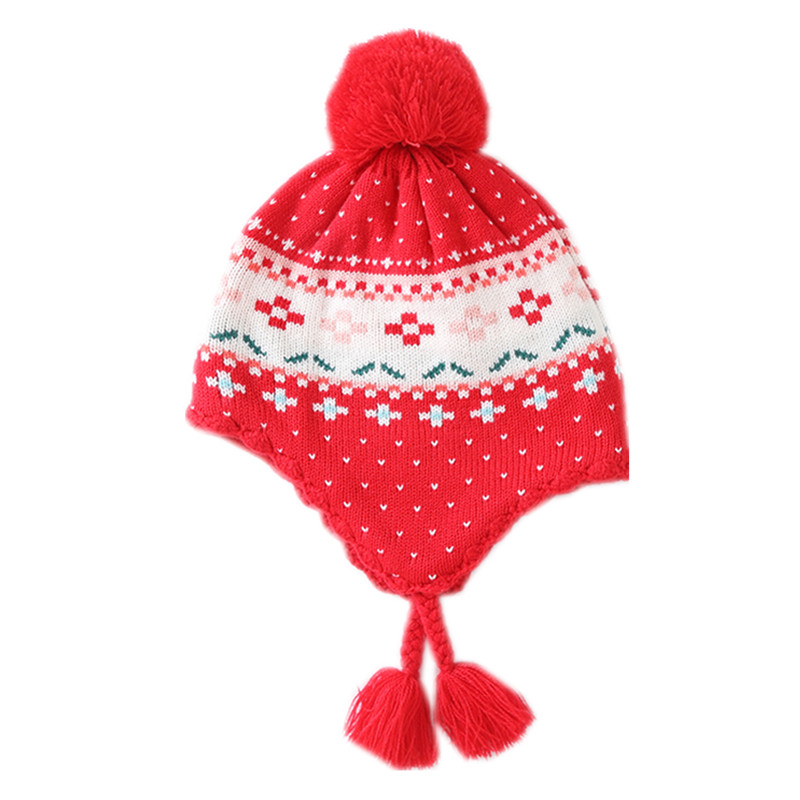 baby & kids girls red geometric print winter fleece beanie bucket casual hats children fashion christmas knitted earflap caps
