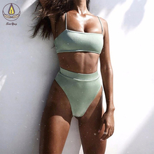 цены New Style Women Swimsuit Sexy Swimwear Bikini Set Push Up Bikini High Waist Solid Color Female Bath Plus Size Bikini Beachwear