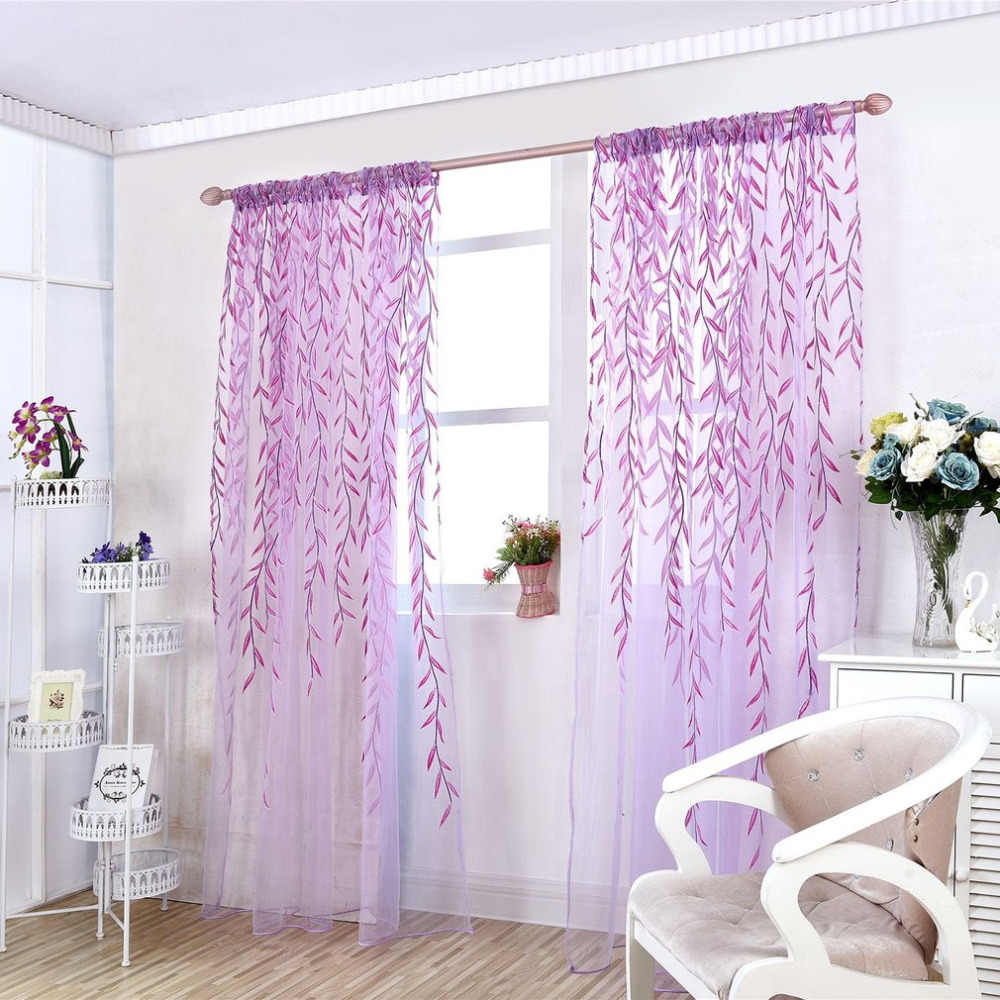 Elegant Window Screening Curtain Window Screening Products Purple Tulle Curtain Romantic Type for Living Room Bedroom Kitchen