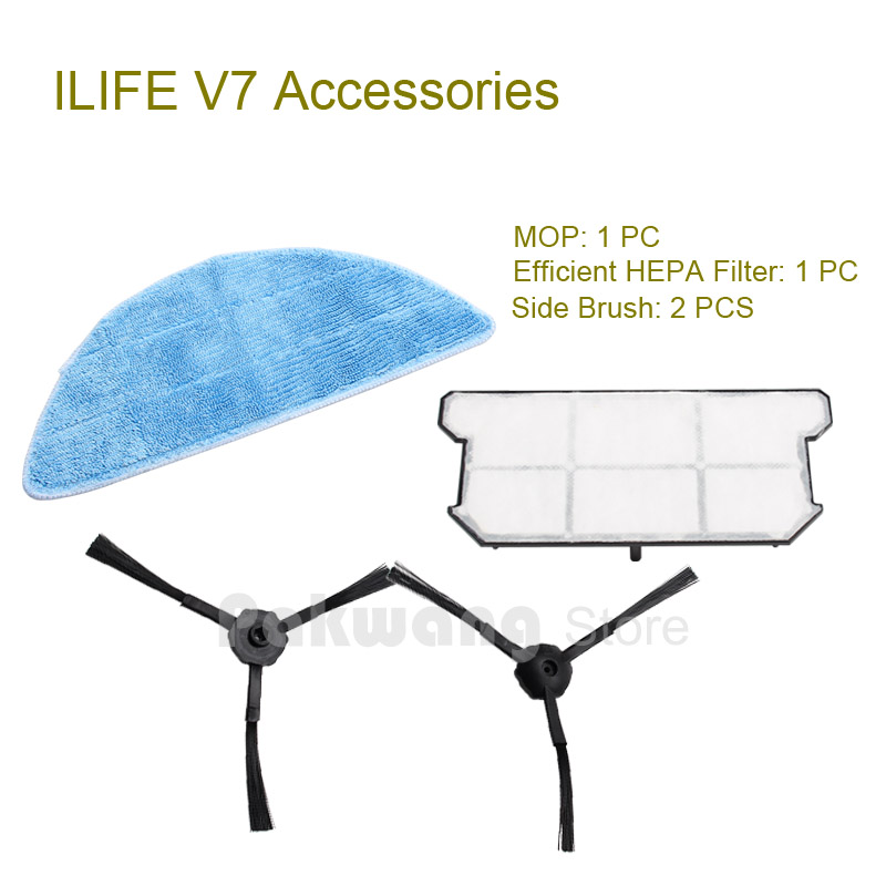 Original ILIFE V7 Robot vacuum cleaner Parts Mop and  Efficient HEPA Filter 1 pc, Side brush 2 pcs from the factory original ilife v7 primary filter 1 pc and efficient hepa filter 1 pc of robot vacuum cleaner parts from factory