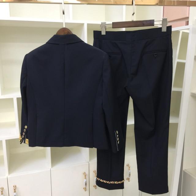 Blazer Pièces Pré Mode 2 Ensemble Bleu Et 2019 Pantalon 2 Printemps Laine Femmes Vintage 3 D'été HwxqPICaT