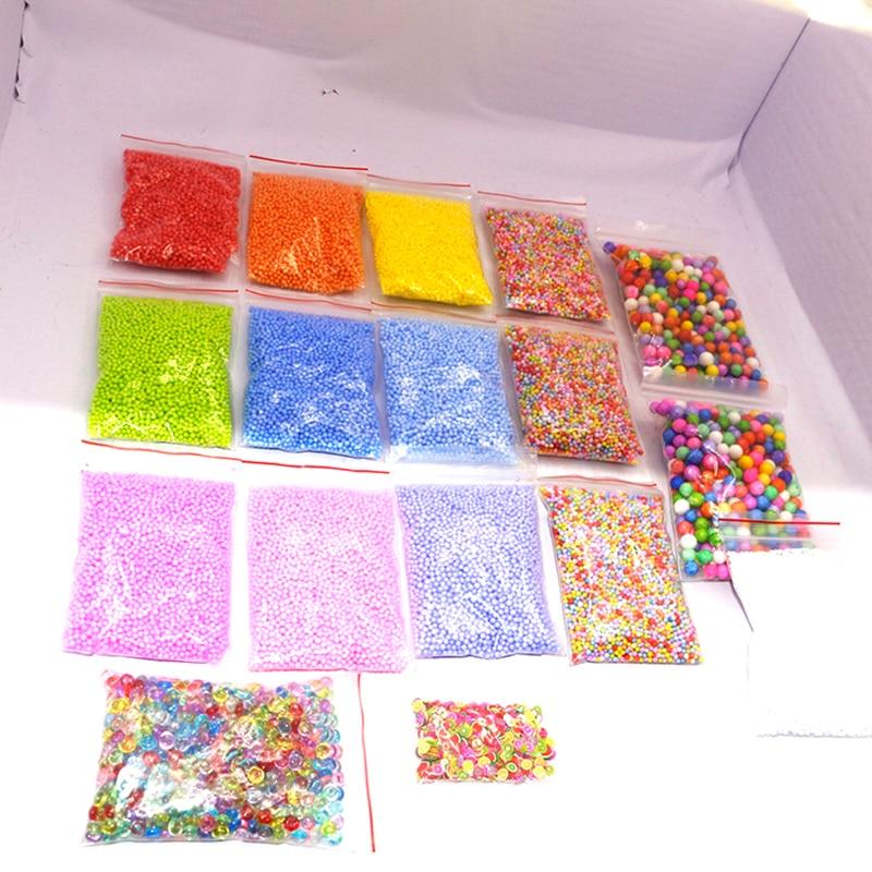 Купить с кэшбэком 17 Pack DIY Snow Mud Particles Accessories Slime Balls Small Tiny Foam Beads For Floam Filler For DIY Supplies 7-9mm