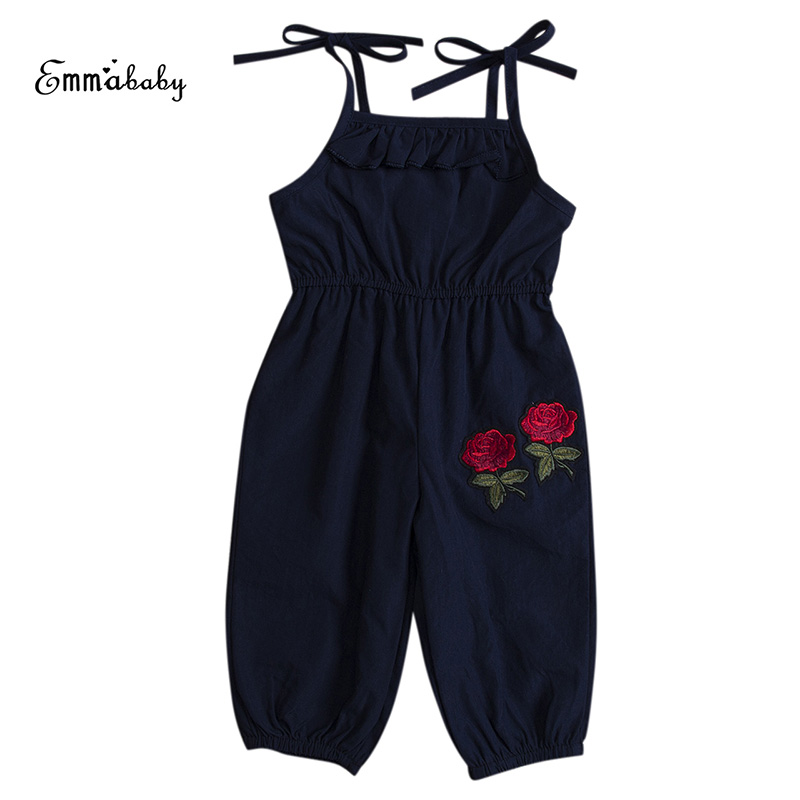 1-6Y Fashion Toddler Kids Baby Girls Summer Sleeveless Strap Romper Rose Flower Children Jumpsuit Sunsuit Clothes 2017 summer toddler kids girls striped baby romper off shoulder flare sleeve cotton clothes jumpsuit outfits sunsuit 0 4t