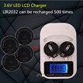 1 UNIDS cargador + 4PCSLIR2025, LIR2016 recargable LIR2025 LIR2032 3.6 V pila de botón, pantalla LED recargable, interfaz USB