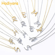 Hadiyana Fashion Jewelry Letter Pendant Necklaces With White Cubic Zirconia Women Attractive Copper A Charm Gift Necklaces XL300(China)